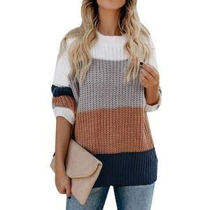 Crew Neck Long Sleeve Color Block Sweater Medium